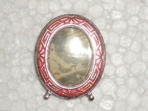Antique Art Deco Enamel Mini Oval Victorian Picture Frame 1 3 4 Pre Owned Exc