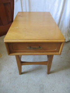 Mid Century Modern Hand Crafted Maple Hardwood Side Drawer Table
