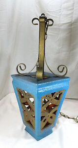Vintage Gothic Medieval Spanish Castle Goth Hanging Pendant Lamp W Chain