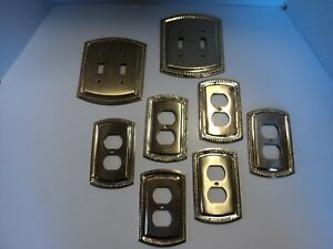 Heavy Shiny Brass 6 Outlet 2 Double Switch Plate Fast Free Ship