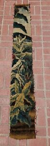 A 7 Feet Vertical Antique Tapestry Fragment With Plants