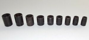 Snap on Imfs Im Series Shallow 6 Point Impact Sockets 9 Piece 1 2 Drive