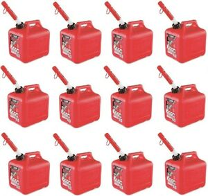 12 Midwest 2300 2 Gallon Red Plastic Gas Fuel Cans Containers For 2 Cycle Oil