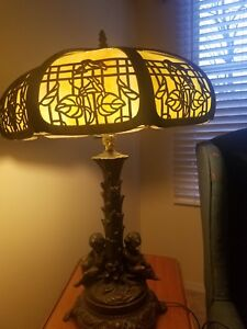 Fine Antique American Art Glass Lamp C 1910 Panel Leaded