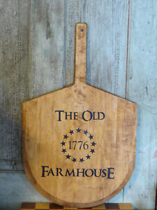 Wood Wooden Bread Cutting Board Paddle Shaped The Old Farmhouse 1776 Primitive