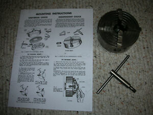 Excellent Atlas Craftsman 6 Inch Swing Lathe 4 Inch 4 Jaw Chuck key 1 10