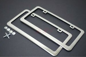 2 Pcs Heavy Stainless Steel Mirror Chrome License Plate Frame For Bmw Benz Volvo