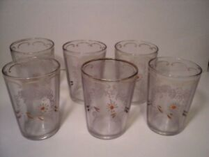 6 Victorian Enamel Glass Colored Tumblers Antique Hand Decorated 1800 S