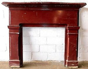 Antique Wooden Fireplace Mantel Surround Curved Arch Top Italianate Style Ornate