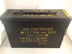 Military Ammo Can 200 Cartridge 7.62 MM For MG M60 - M73 Metal Box Vintage