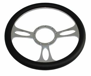 14 Chromed Billet Aluminum Half Wrapped Steering Wheel 9 Hole