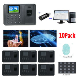 10x Time Attendance Clock Recorder Clocking Machine Fingerprint Usb password To