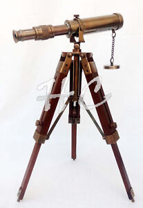 Collectible Antique Brass Telescope W Wooden Tripod Stand Collectible Desk Decor