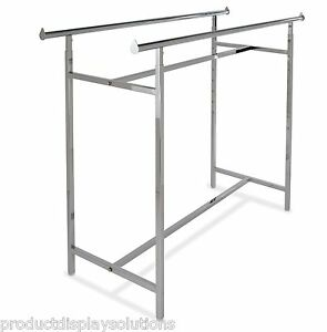 Commercial Grade Clothing Double Bar H Rack Adjustable Height 48 72 Chrome
