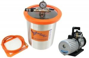 3 Gallon Stainless Steel Vacuum Chamber And Mastercool 6cfm 2 Stage Vacuum Pump
