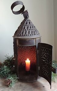 Original Early 19th Century Pierced Punched Tin Candle Lantern