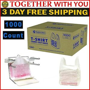 T shirt Plastic Bags Handles 1000 Count Large Retail Grocery Shopping Bag White