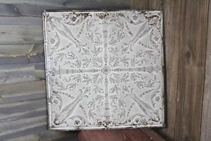 Vintage Antique Tin Ceiling Tile Old Torch Floral Design 24 1 2 X 24 1 2