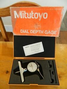 Vtg Mitutoyo 7218 Dial Depth Gauge Machinist Tool In Case Excellent Shape 001