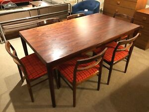 Danish Rosewood Extension Dining Table 6 Chairs By Vejle Stole Mobelfabrik