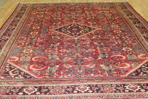 Vintage 9x12 Mahal Semi Antique Wool Hand Knotted Persian Oriental Rug