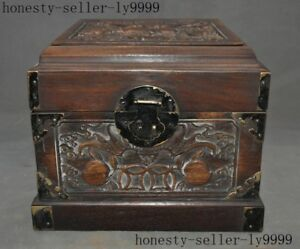 Old China Redwood Wood Hand Carved Auspicious Wealth Bat Peach Storage Box Case