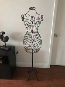 Woman 60 Blk Metal Wire Mannequin Stand Clothes Jewelry Vintage Decor Display