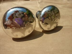 Small Antique Victorian Mercury Etched Hand Blown Glass Curtain Tie Backs