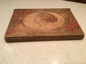 Vintage Old Pyrography Burnt Wood Dresser Box Profile Lady Red Flowers