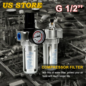 G1 2 Air Compressor Filter Oil Water Separator Trap Tool With Regulator Gauge