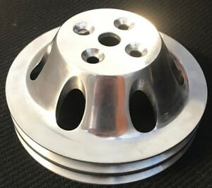 Big Block Chevy Aluminum Water Pump Pulley 2 Groove Swp Bbc Polished