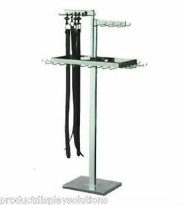 Retail 3 Level Belt Or Tie Adjustable Height Display Rack Chrome