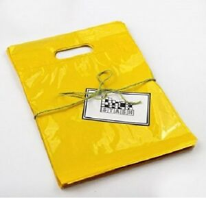 Plastic Shopping Bags 9 X 12 100 Qty Small Merchandise Yellow With Handles New