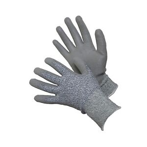Cut Resistant Ce Level 5 Gray Pu Palm Coated Safety Work Gloves 6 Pairs