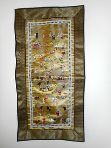 Vintage Chinese Silk Embroidery Tapestry 100 Children Dragon Boat Wall Hanging