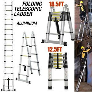 12 5ft 16 4ft Aluminium Ladders Telescoping Multi purpose Extend Folding Ladders