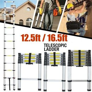 Heavy Duty 12 5ft 16 5 Feet Aluminum Telescopic Extension Ladder Multi Purpose