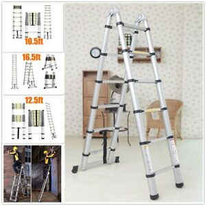 En131 12 5 16 5ft Telescopic Extension Aluminum Step Ladder Folding Multi Purpos
