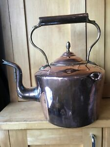 Large Antique Handmade Copper Kettle