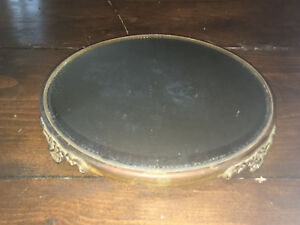 Antique Victorian 12 Round Plateau Beveled Vanity Mirror Tray 4 Footed Floral