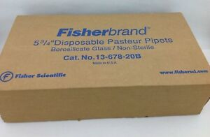 Fisherbrand Disposable Borosilicate Glass Pasteur Pipets 5 3 4 box Of 250