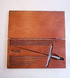 Starrett Depth Micrometer Set 0 9 Inches No 445 With Wooden Box 6 Wide Base