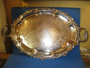 Antique English Silver Plate Over Copper Double Handled Tray