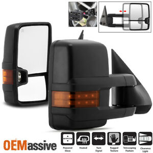 Fit 99 02 Silverado Suburban Sierra Power Heated Led Signal Side Towing Mirrors