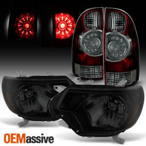 Fits 2012 2015 Toyota Tacoma Black Smoked Headlights Led Tail Brake Lights