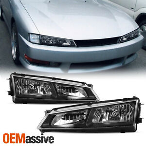Fits 97 98 240sx 180sx S14 Silvia Kouki Jdm Black Headlights Front Lamp Pair Set