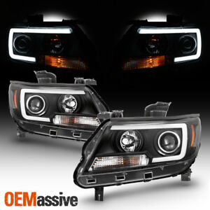 Fits 2015 2020 Chevy Colorado Black Full Led Drl Tube Projector Headlights Set