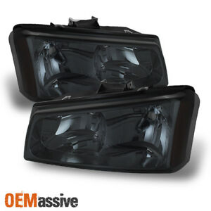Fits Smoked 03 06 Silverado Avalanche 1500 2500 Pickup Euro Headlights Lamp Pair