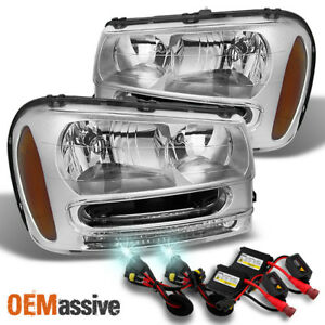 Fit 02 09 Chevy Trailblazer Clear Headlights 8k White Blue Hid
