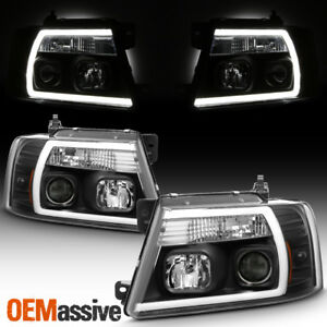 Fits 2004 2008 Ford F150 Pickup Black Full Led Drl Tube Projector Headlights Set